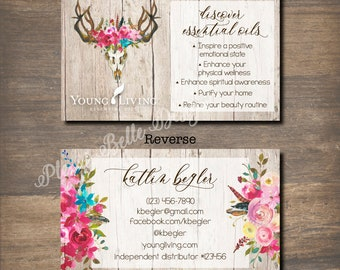 Antler Queen - Young Living Essential Oils - Printable Business Card Design - DIGITAL FILES ONLY - Custom - Marketing - Health - Swag