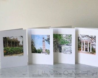 UNC CARDS, Tarheels Cards, North Carolina cards, Set Five Cards, Gift Set Cards, Blank Greeting Card, Original Photo Cards, Watercolor Card