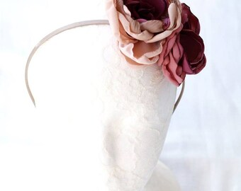 Pastel pink fascinator Floral headband Dusty pink Rose gold Mauve flower headpiece Ombre pink Burgundy flower Gift for her Flower hairband