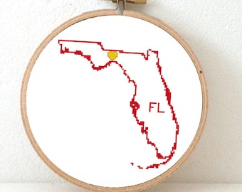 FLORIDA Map Cross Stitch Pattern. FL State Needlepoint pattern with Tallahassee. USA decor. Wedding gift.