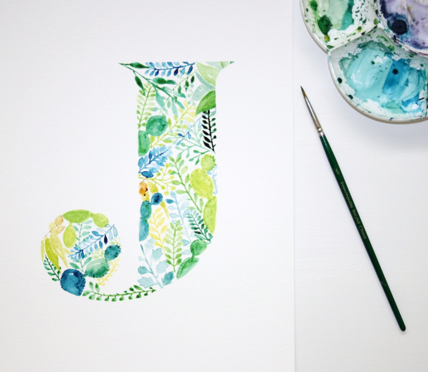 Letter J Wall Art Watercolour Letter J Hand Painted Botanical Wall Art Nursery