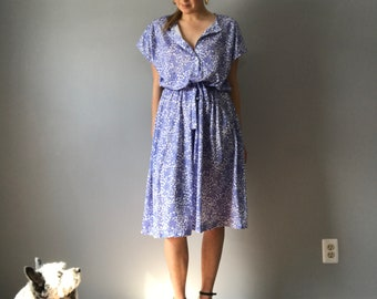 Vintage Floral Spring Midi Dress / Blue Midi Fit and Flare Dress / Blue Dress with Floral Print / Spring Dress / Size Medium