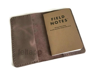Leather Pocket Journal Field Notes Wallet Moleskine Wallet Passport Cover Full Grain Distressed Italian Leather,  Hand Stitched