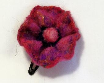Needle Felted Flower - Hair Clip - Barrette - Needlefelt Flower - Burgundy Hair Clip - Gift for Her  - Felt Flower - Floral Hair Accessory