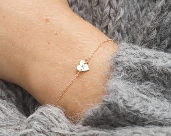 Tiny and Cute Initial Heart Bracelet / Custom Hand Stamped Initial Bracelet / 14k Gold Fill, Sterling Silver or Rose Gold Filled / LB124