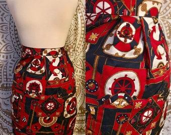 VTG 80s Nautical Sailor Rope Chain PURE SILK High Waist Pleated Pencil Mini Skirt S