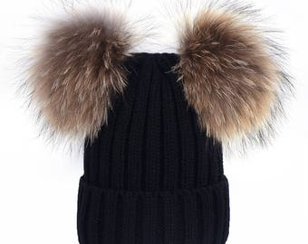double pom pom hats Custom Children/Adult Hats Knitted cotton wool beanies with brown raccoon fur Ball Double Pom Poms Beanies Baby Hats