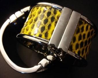 Exotic Skin and Stainless Steel Cuff by Ann Taylor. New. Yellow. Available in Orange