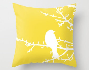 Bird on Twig Pillow  - Yellow - Modern Home Decor - By Aldari Home