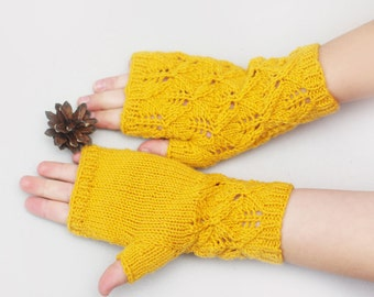 Kids Fingerless gloves, knit lace gloves, yellow wool mittens, fingerless mittens, gloves kids 7T-10T, kids knitted mittens, hand warmers