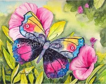 BUTTERFLY PRINT - GARDEN; flowers, wall art, flowers, pink and blue, 8 x 10 inch approximately,