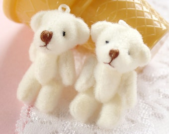 2 Pcs Real Stuffed Jointed Teddy Bear Charms - 37x20mm