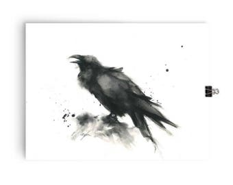 Large Animal Art Prints, Animal art, animal prints, watercolor animal print, bird art prints, watercolor raven art print, gothic art, ink dr