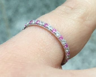 Alternating Diamond and Pink Sapphire Pave Full Eternity Band 1.6mm Matching Band with Sapphires & Diamonds 14K White Gold Wedding Band Pave