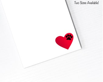 Dog Paw Heart Notepad, Handmade Paper Pad, To Do List, Scratch Paper, Lined or Unlined