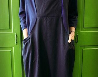 Comfortable dress | Cotton dress | Long dress | Work dress | Casual dress | Blue dress | Dress with stripes |Handmade Kjara