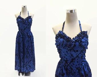 Blue Satin Designer Dress   Gina Bacconi   Blue Satin With Black Flock   Vintage Dress   Evening Dress   Satin Dress   Ball Gown