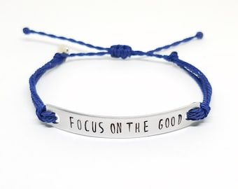Inspirational Quote Bracelet | FOCUS on the GOOD | Gratitude Bracelet  | Positive Thinking Bracelet | Positive Quote | Wax String Bracelet
