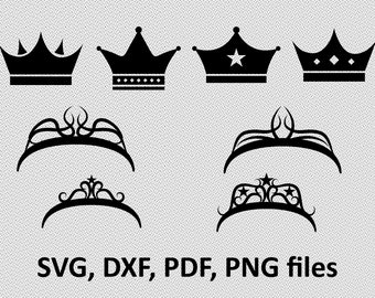Crowns SVG, Crown Clipart, Crown Vector, Princess Crown SVG, King Crown SVG, Cricut, Crown Silhouette, Silhouette Cameo, tiara svg