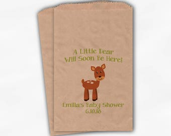 Little Dear Will Soon Be Here Baby Shower Favor Bags - Baby Deer Boy or Girl Custom Treat Bags for Baby Shower - 25 Kraft Paper Bags (0215)