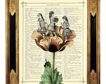 Girls playing Flower Art Print - Vintage Victorian Dictionary Book Page Art Print Steampunk Nursery Art Wall Decor