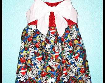 Girls Rockabilly 2 Piece Set Dress and Sweater in Tattoo Print ........Size 3