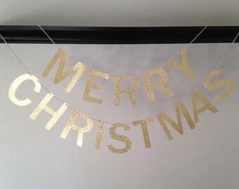 Merry Chistmas Banner, Christmas Banner, Christmas Garland, Christmas Decor, Christmas Mantle Decor, Gold Christmas Banner