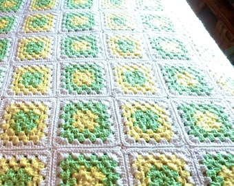 Granny Square Crocheted Afghan, Vintage Handmade Coverlet, Lap Throw, Crochet Baby Blanket, Pastel Colors