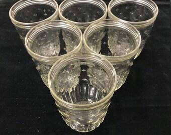 Vintage Canning Jars, Vintage Jelly Jars, Kerr Jelly Jar, Vintage Kerr Jars, Set of 6, 1960s Kerr Jelly Jars
