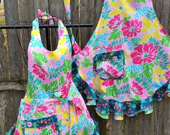 Tropical Wild Flowers Full Flouncy Ruffled APRON