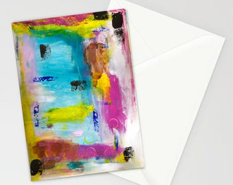 "Mixed Media Abstract 5""x7"" Blank Greeting Card with Envelope, Mixed Media Art, All Occasion Card, Abstract, Colorful Stationery"