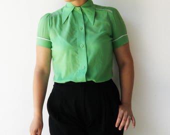 Vintage Green Blouse / Button Up Top / Size M L