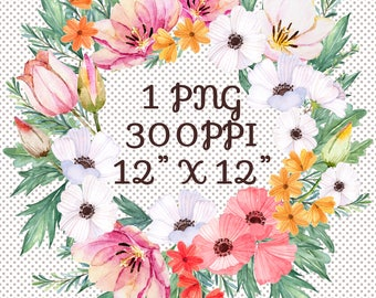 Pink and Gold Floral Wreath | Designer Resources | Designe Assets | Graphics for Designers | Instant Download PNG Watercolor Flower Wreath