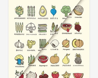 Pair - Fruits and Vegetables 16 x 20 Screen Printed Poster - Set of Two