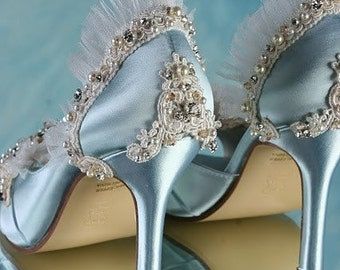Wedding Shoes Marie Antoinette Shoes Lace Wedding Shoes - Custom Embellished One Of A Kind Wedding Shoes Couture Wedding Shoe Pearl Crystals