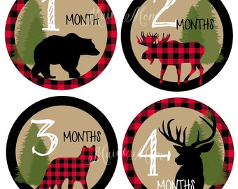 monthly baby stickers baby month stickers buffalo plaid moose age