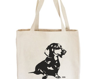 Dachshund Tote Bag, Doxie Dachshund Canvas Tote, Wiener Dog, Dog Lover Gift, Cute Tote Bags, Sister Gift Tote Bag, Reusable Shopping Tote