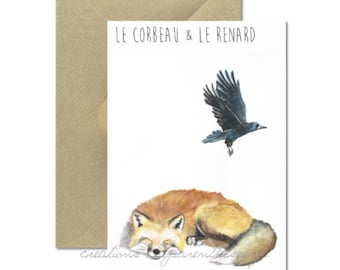 The Raven and Fox - watercolor Illustration card