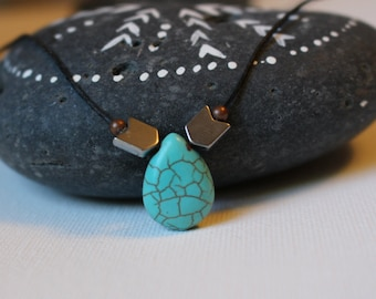 HEMP Drop Back Necklace with Turquoise, Silver and bronze beads.