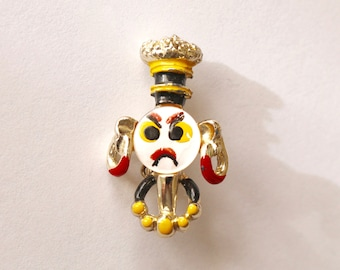 Angry Native Pin/Brooch-Vintage 1950's Costume Jewelry-Unusual piece!