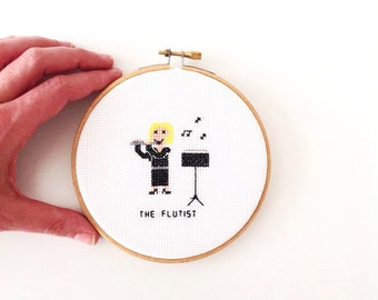 Handmade embroidery hoopart the flutist. Gift for flutist. Gifts for musicians