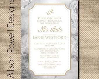 Grey and Gold Marble  Bridal Shower, Bridal Luncheon, Spring, Summer Invitations - Print your own