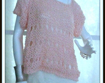 SWEATER WOMENS KNITTED Handmade Handknit Pullover Pink Short Sleeve