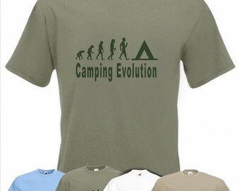 Evolution To Camping t-shirt Funny Tent T-shirt sizes S TO 2XXL