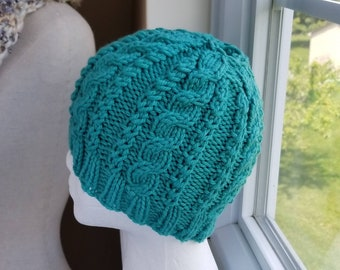 Jade Green Cable Knit Bun Hat - Pony Tail Hat