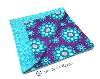Turquoise Pocket Square, Purple Pocket Square, Floral Pocket Square, Double Sided Pocket Square