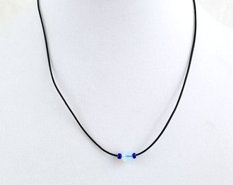 Opalite Moonstone Necklace, Minimalist Necklace,  Leather Necklace, Natural Jewelry, Boho Chic, Gifts for Women, Adjustable Leather Choker
