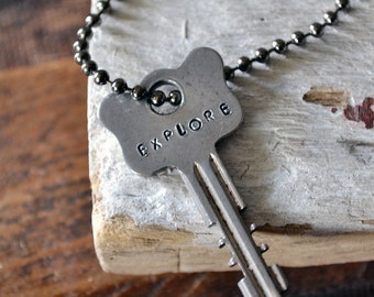 Key of Adventure - Vintage Key Necklace - Explore - Hand Stamped Key Jewelry - Recycled Key Necklace - Mens Key Necklace
