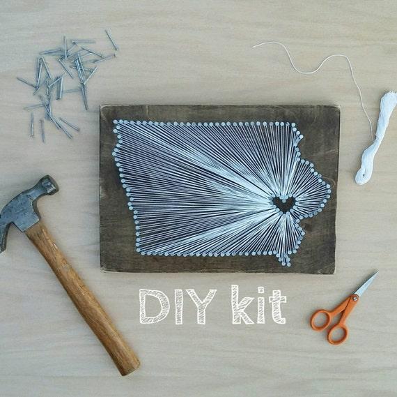 DIY Iowa String Art Kit State string Art kit Iowa Nail Art