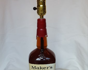 Makers Mark Bourbon Bottle Lamp with Wood Base, Man Cave, Home Bar, Gift for Him or Her, Industrial Lighting, Father's Day Present